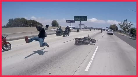 Motorcycle Accident Crash During Wheelie On The Highway