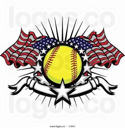 Softball Clipart Flag American Baseball Vector Softballs