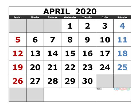april printable calendar template excel image edition