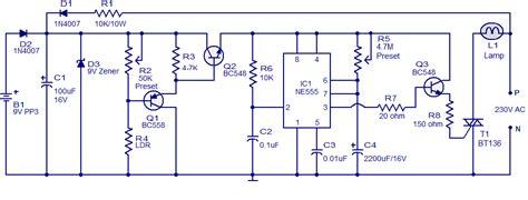 automatic night light circuit  ne diagram wiring