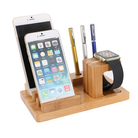 support iphone bureau office bamboo mobile phone desk holder for iphone 6 6s