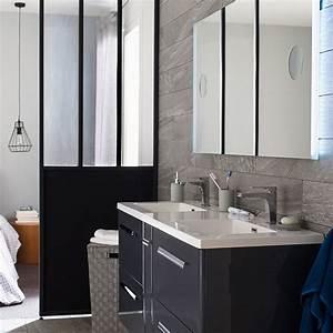 rangement salle de bains marie claire maison With porte de douche coulissante avec meuble de salle de bain style industriel