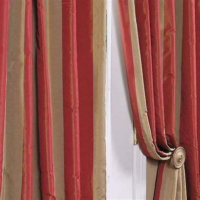 Silk Drapes Taffeta Faux Curtain Stripe Half