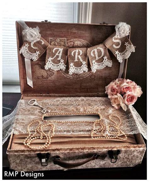 shabby chic wedding gift ideas cards burlap lace banner wedding decor bridal shower gift shabby chic bridal decor suit case
