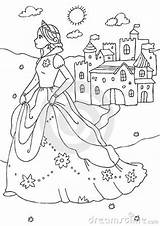 Castle Coloring Princess Royalty Colored Created Illustration Line sketch template