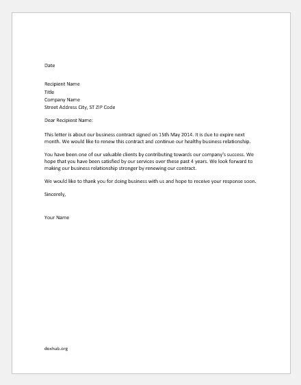 44 [pdf] CONTRACT RENEWAL LETTER TO CLIENT PRINTABLE DOCX DOWNLOAD - * ContractLetter
