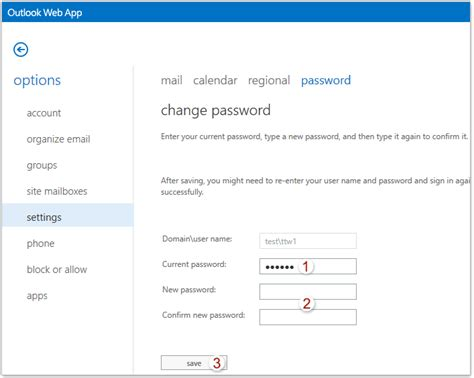 Office 365 Outlook Password Reset by How To Change The Login Password Of Outlook Web App Owa