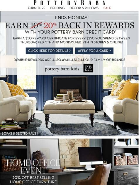 pottery barn credit pottery barn rewards end soon use your pottery