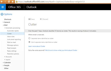 turn clutter for office 365