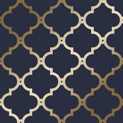Navy Trellis Morocco Textured Metallic Living Teal