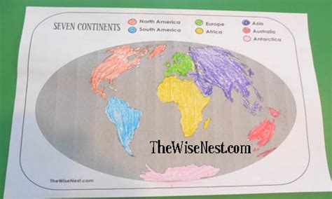 continents worksheets  wise nest