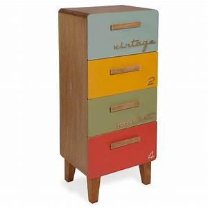 Maison Du Monde Petit Meuble : petit meuble 4 tiroirs multicolore market maisons du monde ~ Dailycaller-alerts.com Idées de Décoration