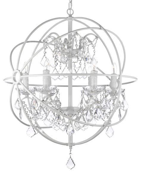 foucault s white wrought iron orb chandelier
