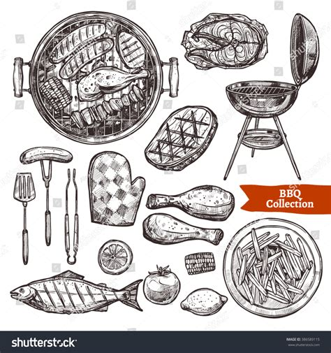 bbq grill sketch set hand drawn stock vector