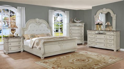 stanley white queen sleigh bedroom set  furniture place