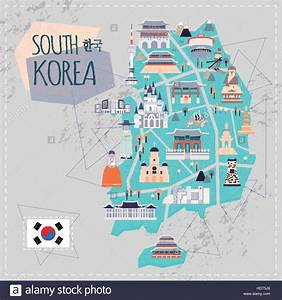 lovely South Korea travel map in flat style - Korea in ...