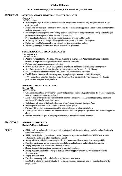Finance Manager Resume by Regional Finance Manager Resume Sles Velvet