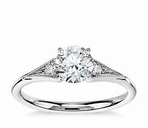 heirloom petite milgrain engagement ring in 14k white gold With petite wedding rings