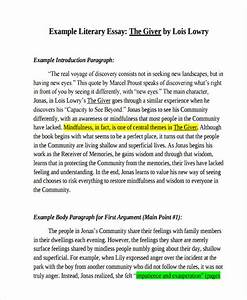 Literary Essay Introduction Paragraph Example Essay