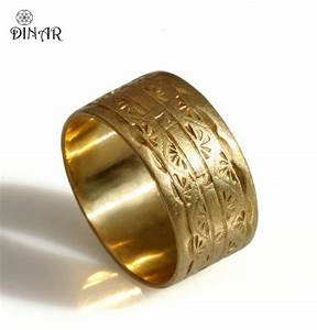 14k solid yellow gold band 10mm wide wedding band art for Engraving on mens wedding rings
