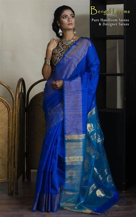 royal blue color handloom khadi cotton silk saree