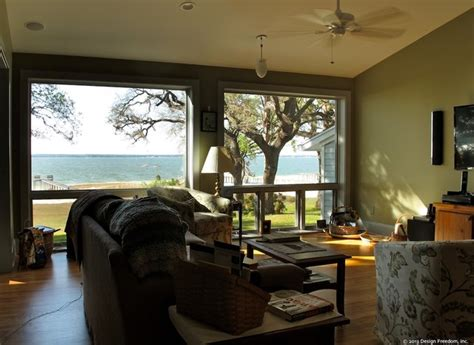 Living Rooms With Great Views by Large Windows Give Wall To Wall Lakeview From Great Room
