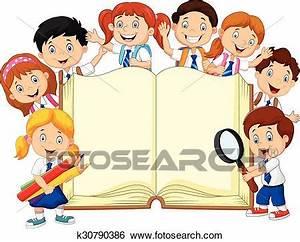 Clip Art of Cartoon school children with book k30790386 ...