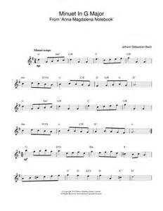 Minuet In G sheet music by J S Bach (Melody Line & Chords