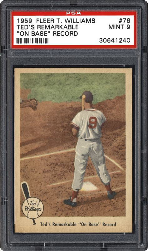 1959 fleer ted williams two famous fishermen psa 1959 fleer ted williams ted 39 s remarkable quot on base quot record