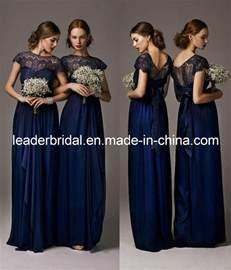 china new bridesmaid dresses navy blue lace chiffon empire wedding evening dresses e139131 - Navy Lace Bridesmaid Dress