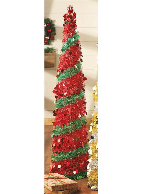 red pop christmas tinsel tree pop up tinsel tree carolwrightgifts
