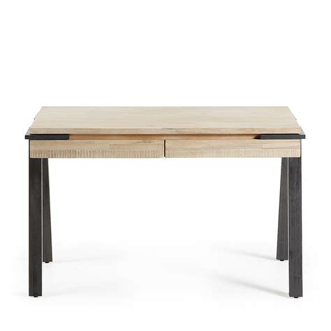 table de bureau but bureau design bois et métal 125x60 2 tiroirs spike by drawer