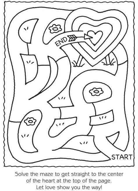valentines mazes  coloring pages  kids