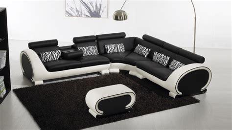 canapé blanc et noir canapé d 39 angle cuir au design contemporain okyo mobilier