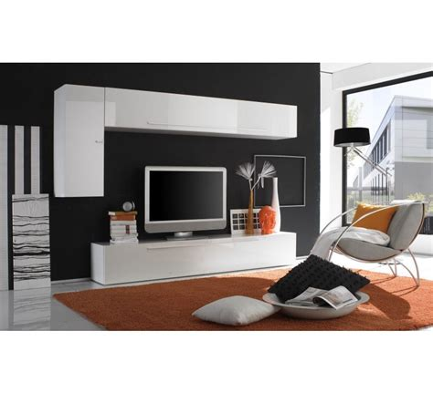 tele cuisine meuble tele laque blanc moderne 3164