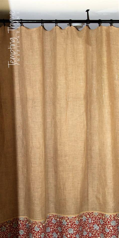 burlap shower curtain no sew burlap shower curtain tempting thyme