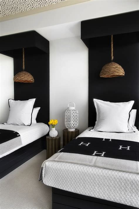 black and white bedroom with a pop of color hermes blankets design ideas 21310