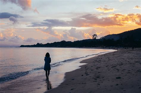 Back View Of Lonely Woman Walking On Beach In Sunset Stock ...