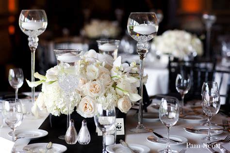 black white wedding ivory centerpiece