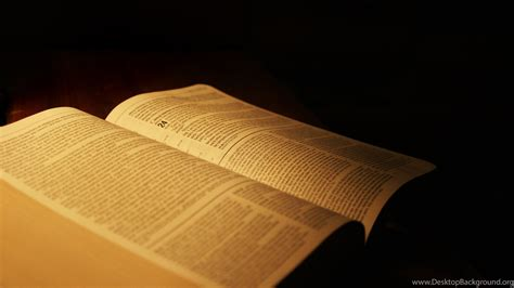 Bible Backgrounds Open Bible On A Table Desktop Background