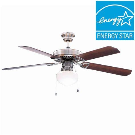 energy efficient ceiling fans hton bay tri mount 52 in indoor brushed nickel ceiling