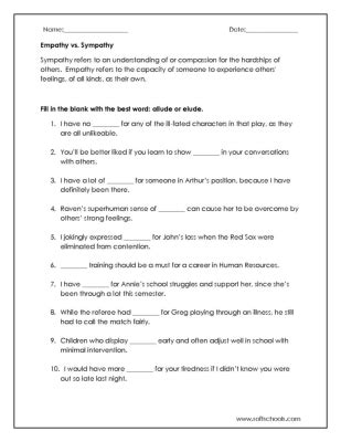 empathy vs sympathy worksheet worksheet