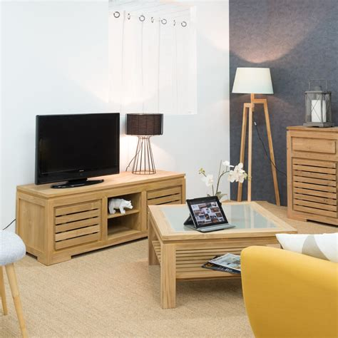Meuble En Teck Meuble Tv Teck Meuble Tv Bois Naturel Rectangle Zen 140 Cm
