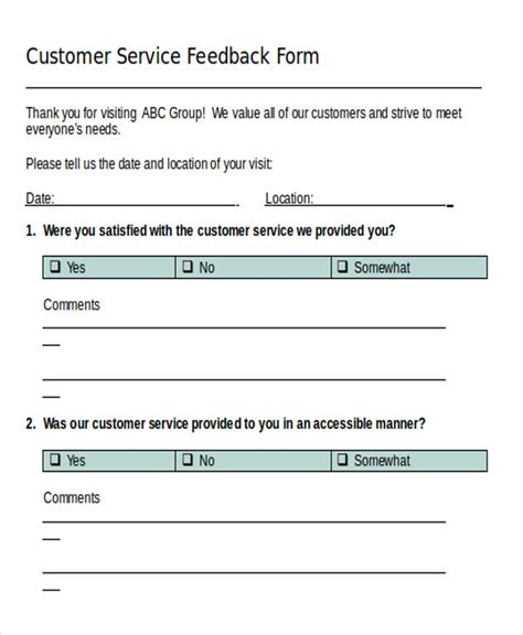 sample feedback forms  ms word