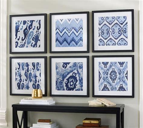 pottery barn prints indigo ikat framed prints pottery barn