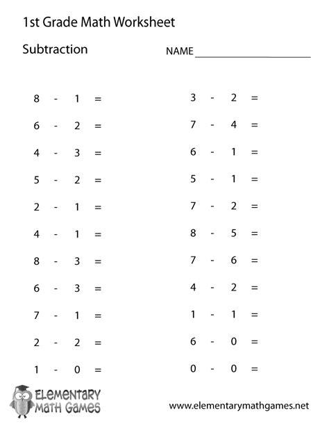 grade subtraction math worksheets printable