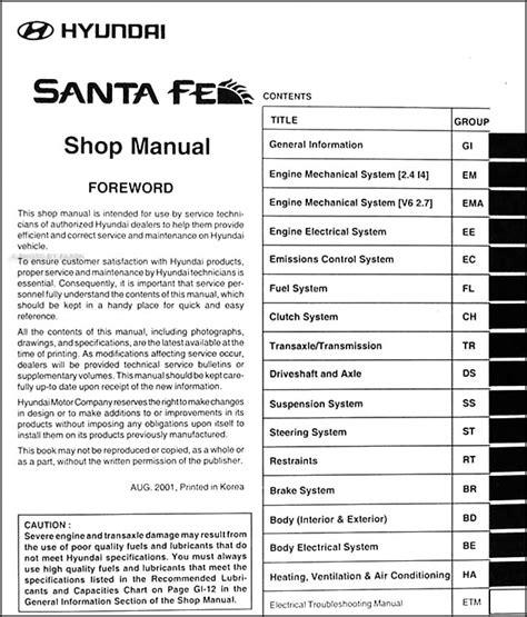 shop manual santa fe service repair hyundai haynes santafe book chilton ebay 2002 hyundai santa fe repair shop manual original