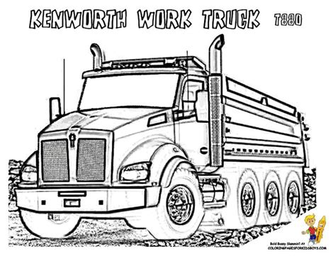 Semi Truck Coloring Book Page, Kenworth Semi Trucks