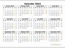 Kalender 2016 WikiDatesorg