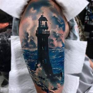 Shoulder Realistic Lighthouse Tattoo | Best Tattoo Ideas ...